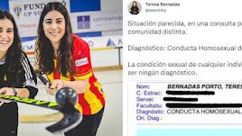 eresa Bernadas, con su hermana Raquel, antes de un partido. A la derecha, el tuit / Teresa Bernadas.