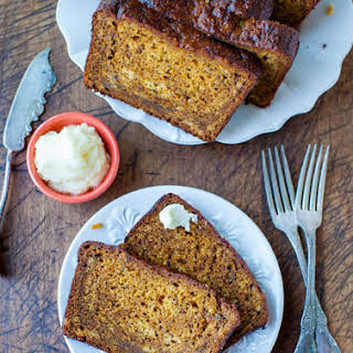 Pumpkin Banana Bread with Browned Butter Cream Cheese Frosting.