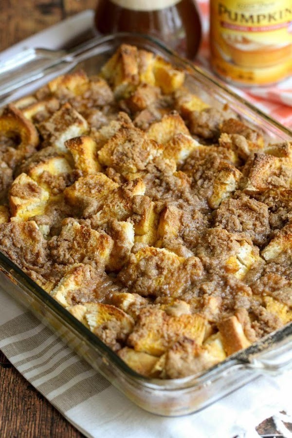 To make streusel, mix flour, brown sugar, cinnamon, pumpkin pie spice and salt in...