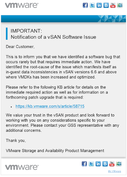 Extended VMDK on VMware vSAN 6.6 and later Report In-guest Data Inconsistency