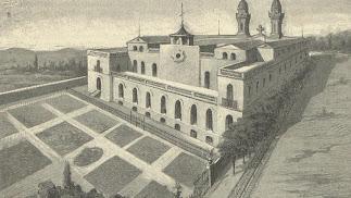 Grabado de 1886, de la parte trasera del Colegio y Convento recién inaugurado.