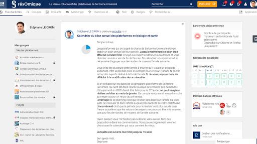 résOmique - L'outil collaboratif des plateformes de Sorbonne Université