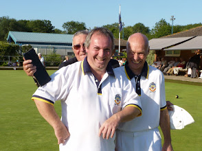 Photo: Club Championship runners up Jon Broomfield and a pleased Brian Perryman. Not sure why Marker, Colin Docksey is hiding.