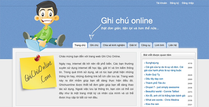 Ghi chú online với ghichuonline.com