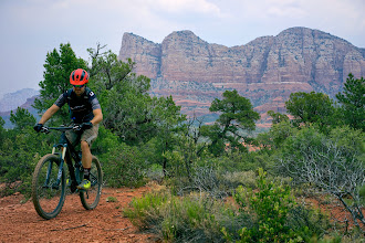 Photo: Riding near Bell Rock from dry creek beds to the top of mesas.