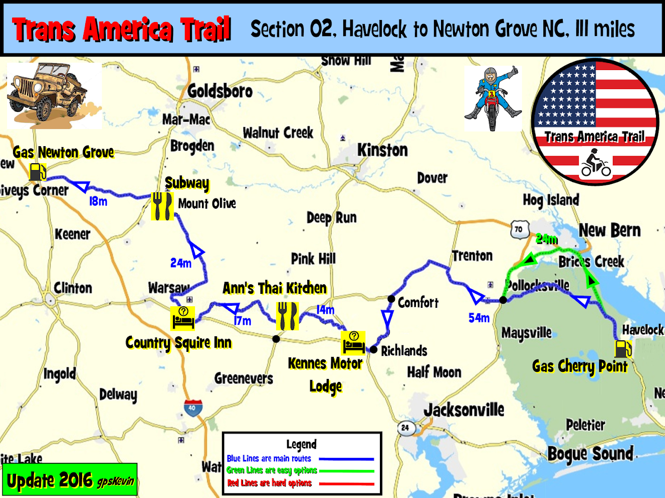 TAT Section 02 Havelock NC to Newton Grove NC   gpsKevin Adventure