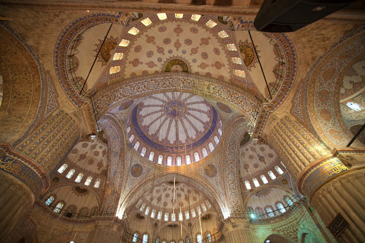 Inside the stunning Sultan Ahmed Mosque, or Blue Mosque, in Istanbul, Turkey.