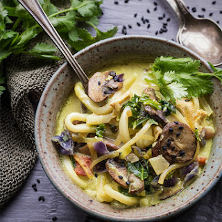 Golden Coconut Milk-Turmeric Udon Noodles with Duck Bacon.