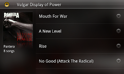 Android 3.0 music player screenshot