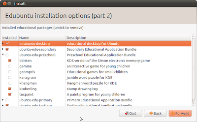 Edubuntu Package Selection in Ubiquity