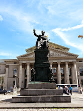 Photo: Max Joseph Platz:The statue is of Napoleon's son-in-law Max Joseph, whom he installed as Bavaria's king in 1806, in exchange for Joseph marrying his stepson to Napoleon's daughter (wikihow becoming royalty). Max Joseph was actually a really good king. He emancipated the Protestants and the Jews, gave the realm a constitution… and Viktualienmarkt… and was understandably popular. For your reference, Germany was only created in 1871, it was Bavaria before this.