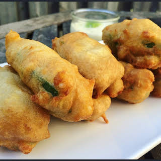 Deep Fried Jalapeno Rolls with Crab and Onion Filling.