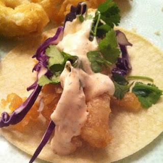Baja Fish Tacos with Fish Taco White Sauce.
