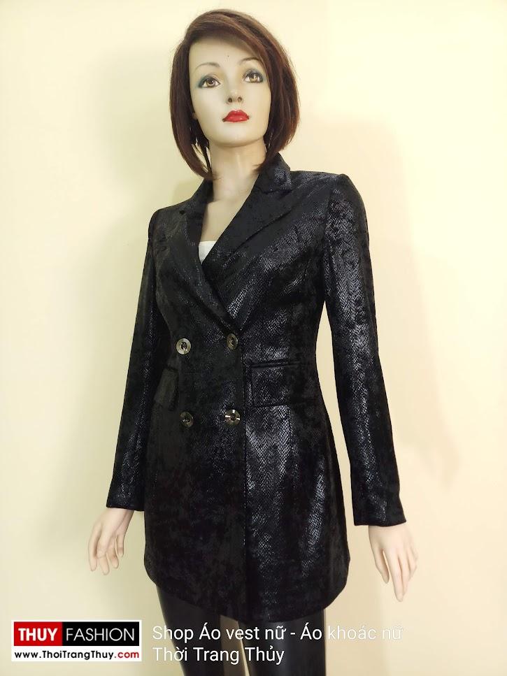 Áo vest nữ vải nhung ép da V667 thời trang thủy