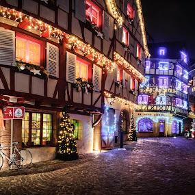 Noël à Colmar II by Pierre Husson - Public Holidays Christmas ( christmas lights, night, france, colmar, city )