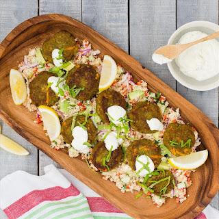 Falafel Kofta with Lemon and Feta Quinoa.