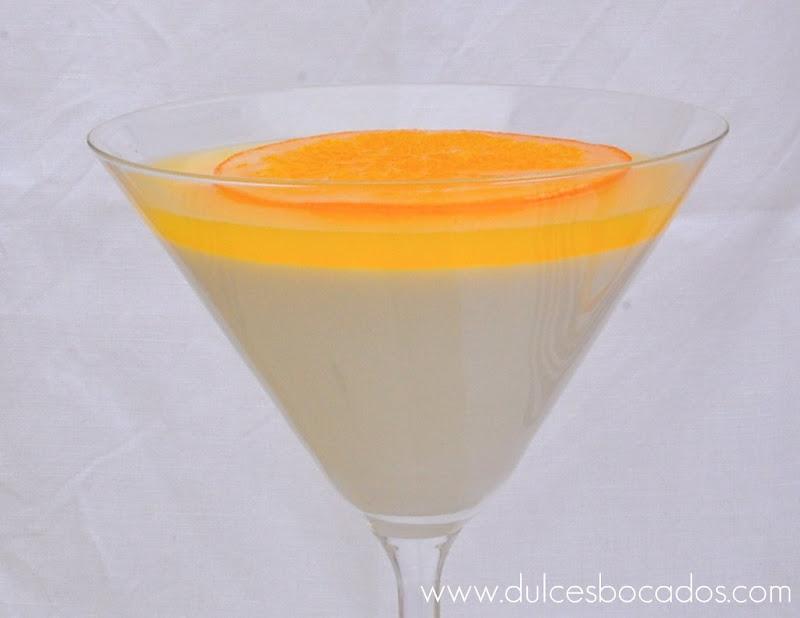 Panna cotta de azahar con gelatina de naranja