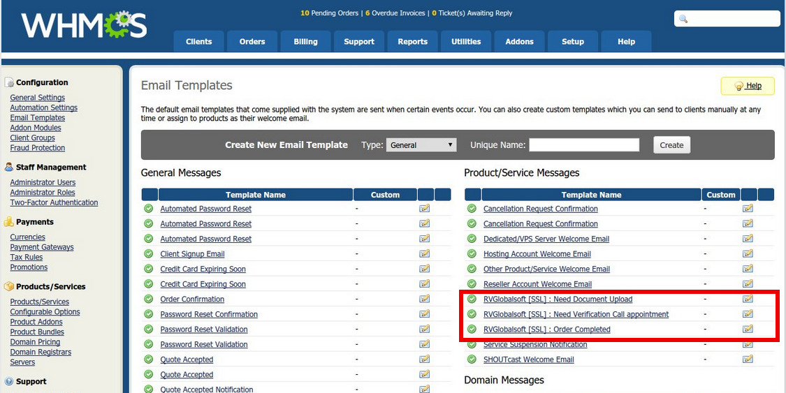 Edit email template in RVssl Addon in WHMCS