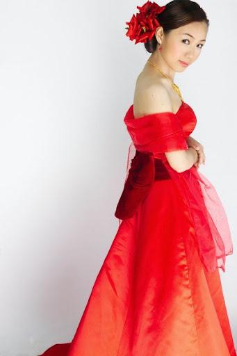 red wedding gown uniquely sash  attire