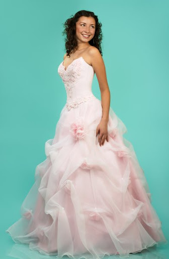 pink bridal gown romantic flowers