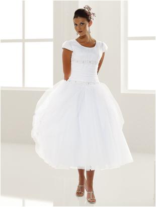 9110 Tea Length Modest Wedding Dress