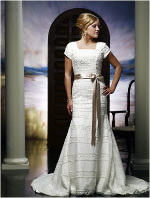 modest bridal wedding gown  short sleeves