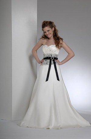 Best Formal White Wedding Dress with pink line wedding dress black sash.
