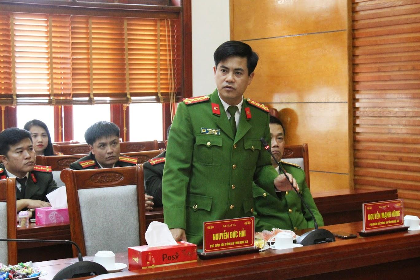 Đồng chí Đại tá Nguyễn Đức Hải, Phó Giám đốc Công an tỉnh phát biểu tại buổi gặp mặt