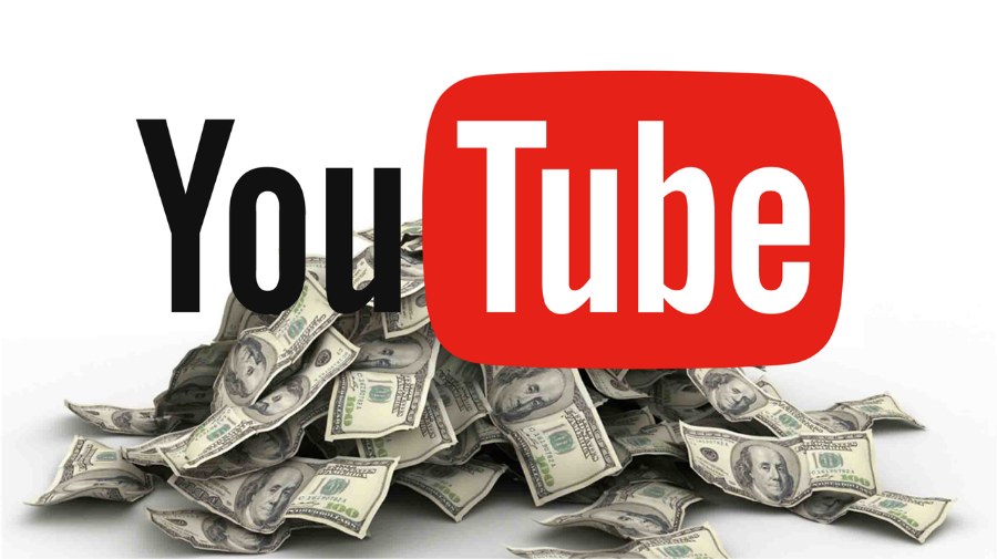 YouTube logo with stash of dollar bills in the background