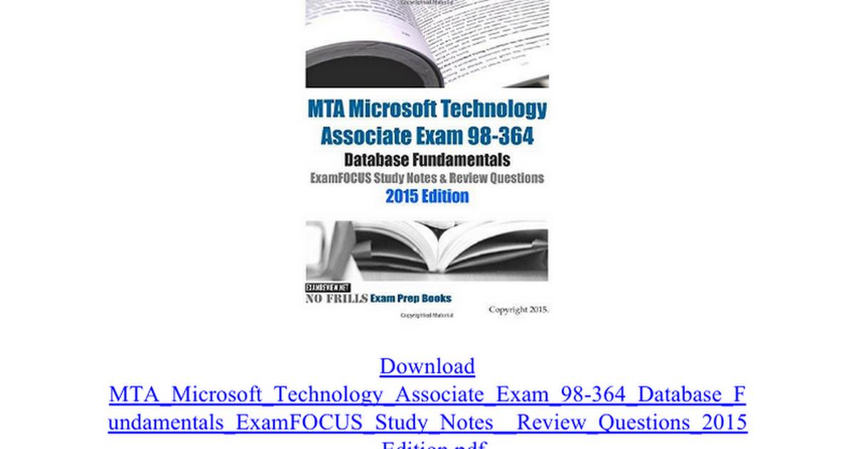 Mta Microsoft Technology Associate Exam 98 364 Database Fundamentals