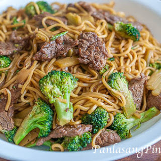 Lo Mein with Beef and Broccoli.