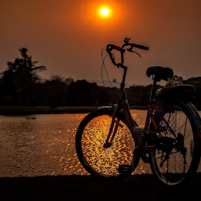 Thai Sunset by Gary Parnell - Transportation Bicycles ( sunset, thailand, bicycle )