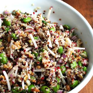 Quinoa Salad with Toasted Walnuts, Spring Onions, Edamame & Radish
