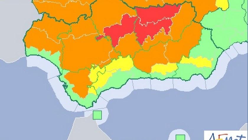 Mapa de Andalucía previsto para este viernes.