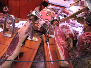 Photo: Jamon Iberico.  The darker ham on the left from a pig with the black foot is more prized than the other one.