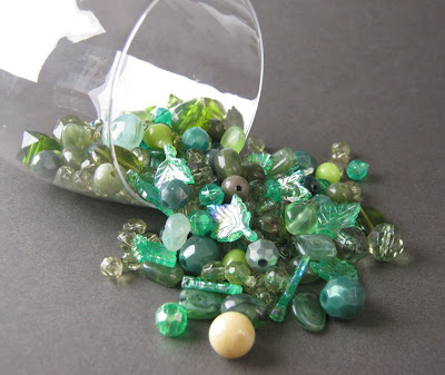 Rare and Vintage Green Bead Mix