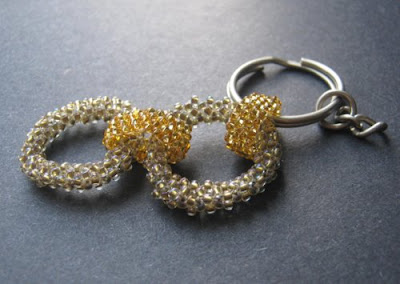 Right Angle Weave and Peyote Stitch Keychain Zipper Pull