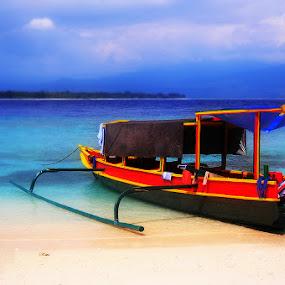 Ride to Gilis by Nelwan Handoko Hasan - Landscapes Beaches ( sand, blue, sea, beach, boat, island )