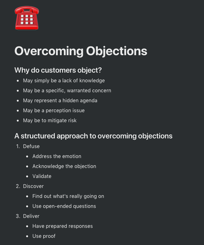 A process document outlining the common approach towards handling objections in the startup sales cycle.