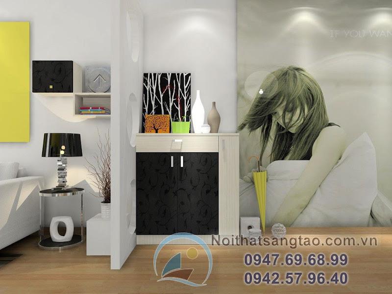 thiết kế phòng khách kết hợp phòng làm việc