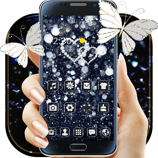 Black Glitter Diamond Butterfly Theme