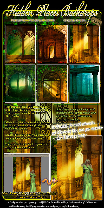 poser daz studio backdrops backgrounds fantasy 3d model
