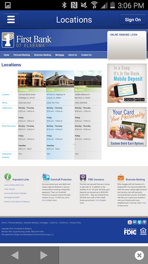 First Bank of Alabama- screenshot