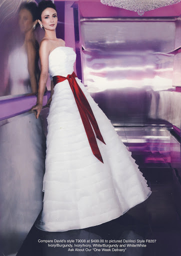 White Bridal Gown + Red Empire Sash