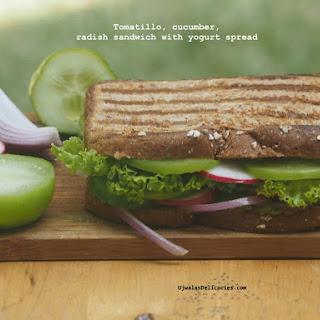 Radish, Tomatillo Sandwich with Yogurt Spread Recipe