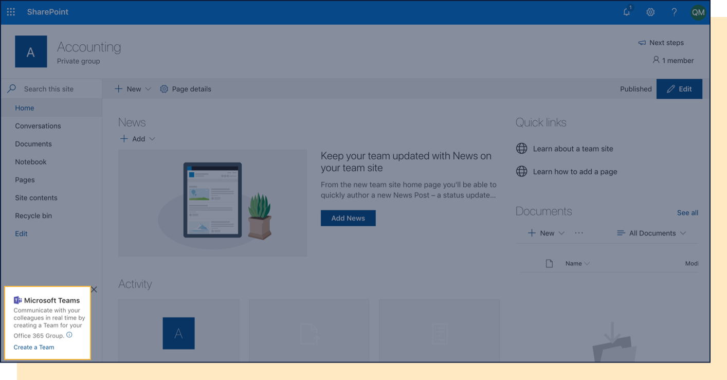 Screenshot with Microsoft Teams Create a Team icon highlighted in SharePoint.