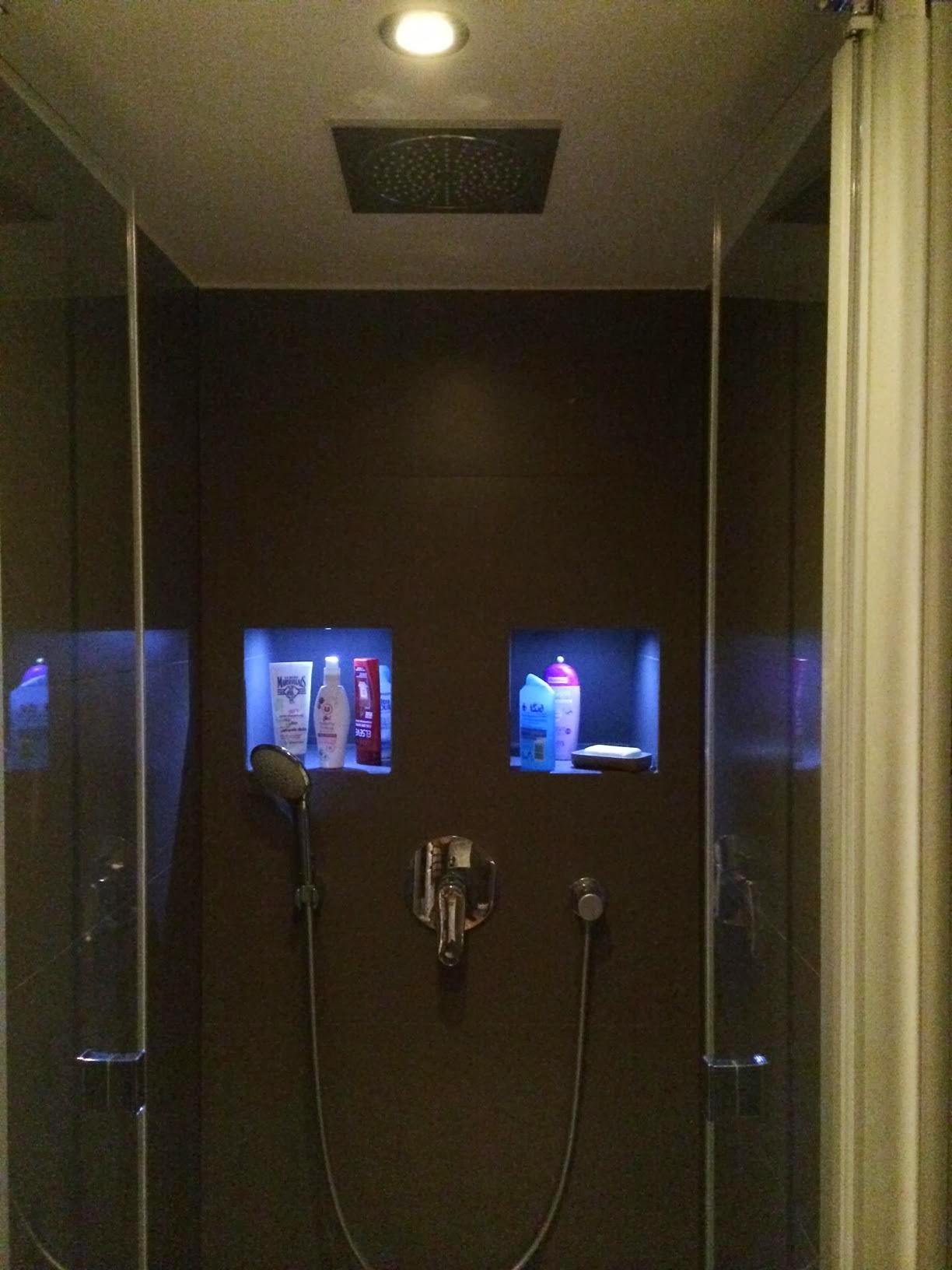 Photo: Niche dans une douche éclairée par des spots LED
