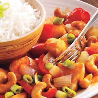 Sweet and Spicy Cashew Chicken.