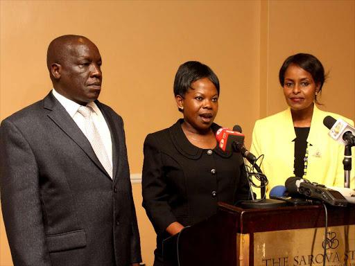 IEBC commissioners Margret Mwachanya, Consolata Nkatha Maina and AMB. Paul Kurgat issue their resignation statement at Sarova Hotel on April 16, 2018.