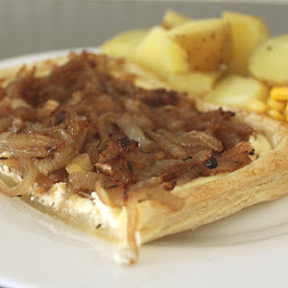 Caramelised Onion And Ricotta Puff Pastry Tart.